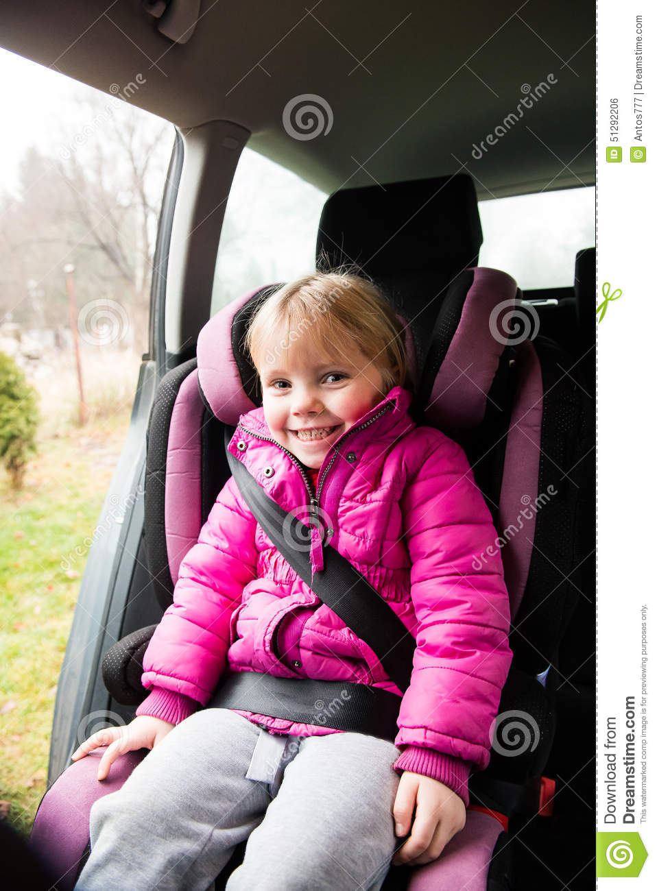 Child Car Seat Jacket Little Girl In A Car Seat Stock Photo Image Of Rest