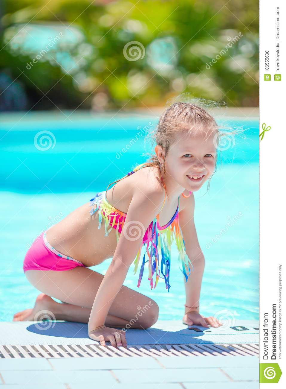 Gfk Pool Leipzig Little Active Adorable Girl In Outdoor Swimming Pool Ready To Swim