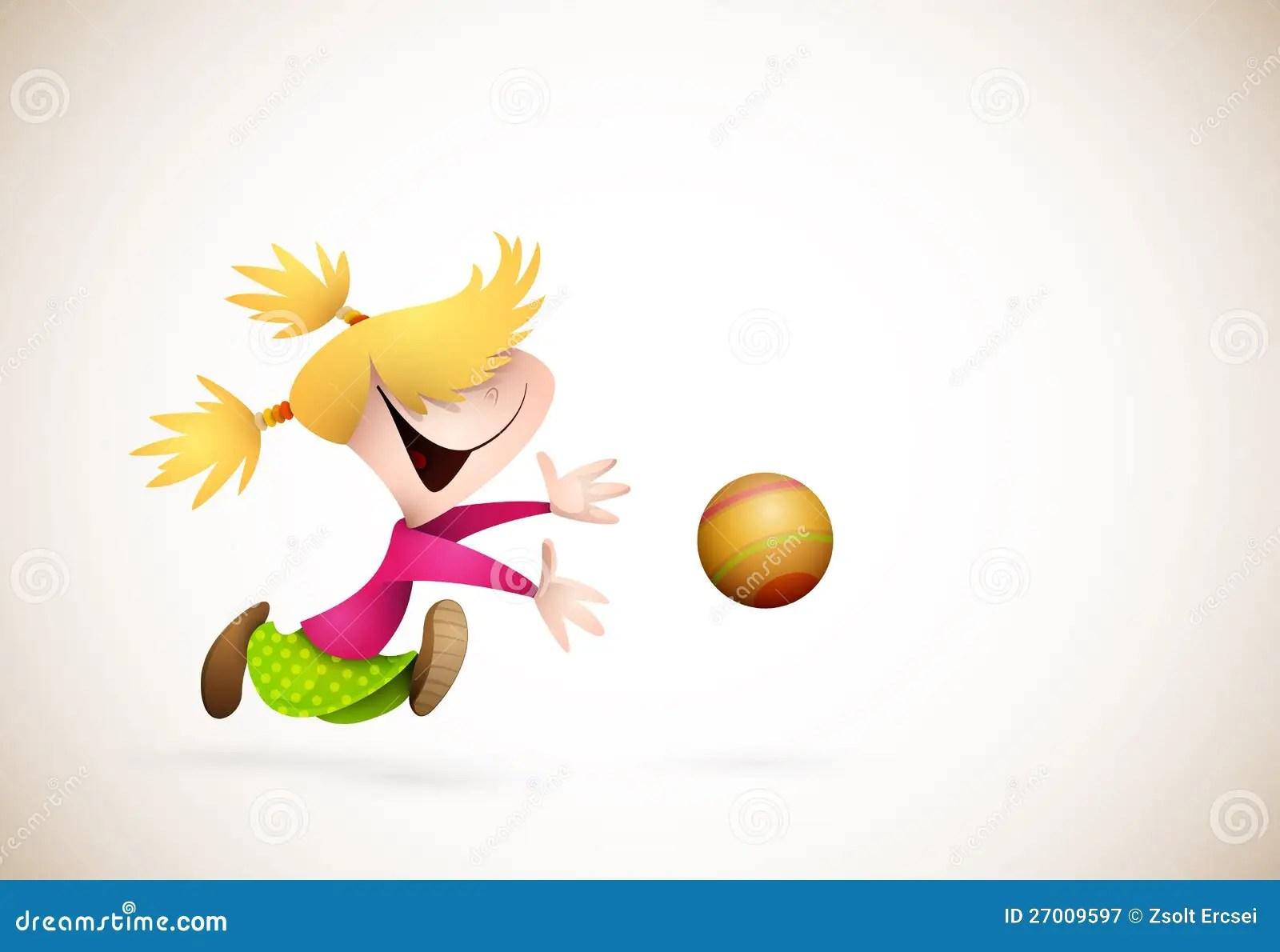 Lovely Wallpaper Girl And Boy Little Girl Playing Handball Stock Vector Image 27009597