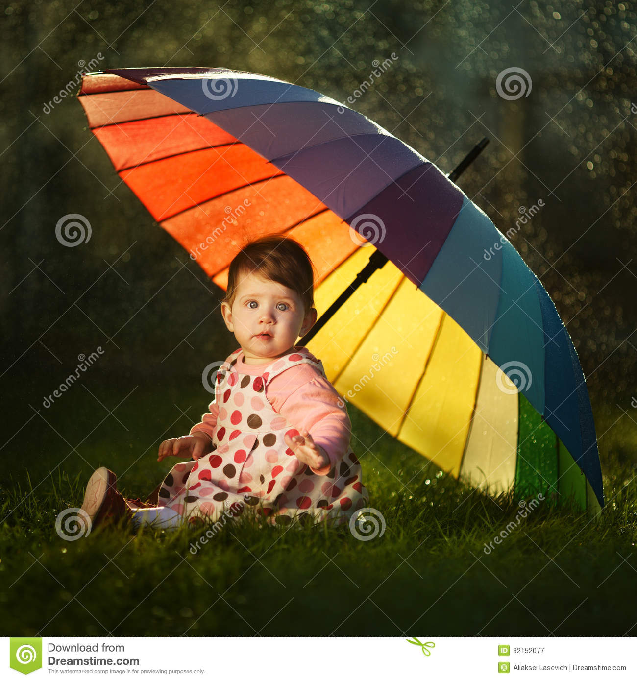 Download Sweet Girl Wallpaper Little Girl With A Rainbow Umbrella In Park Royalty Free
