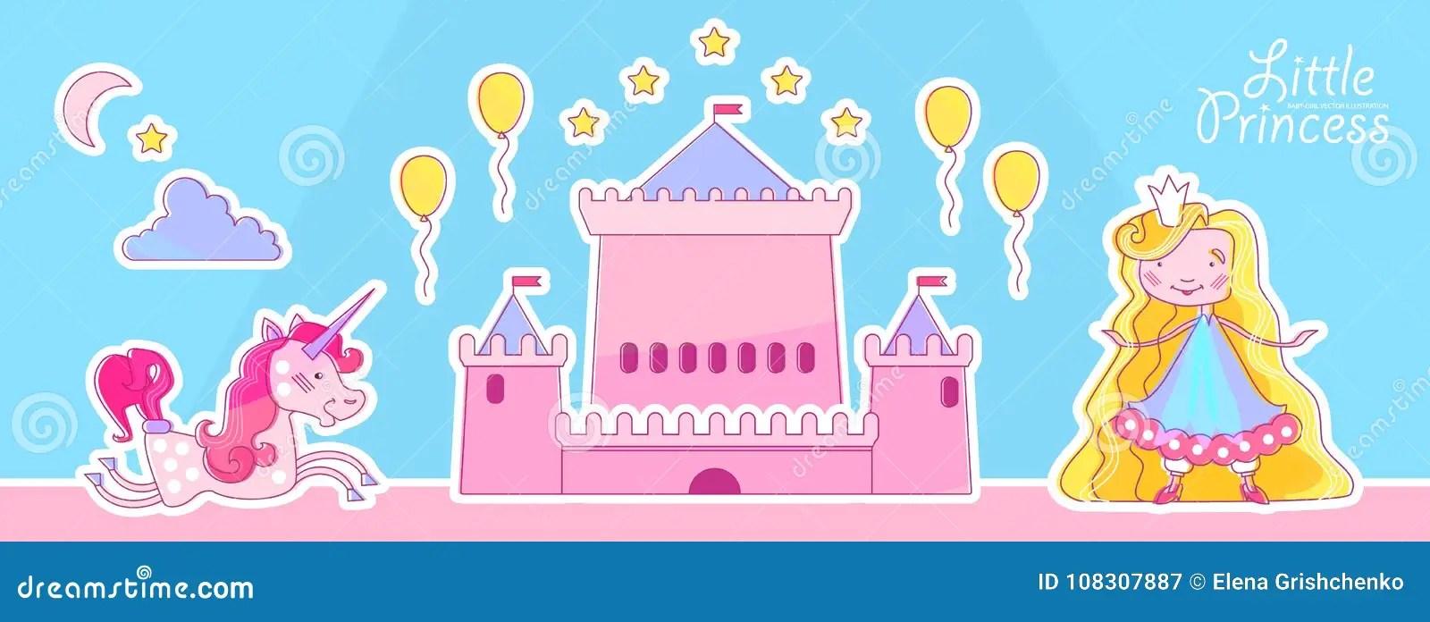 Little Princess Design Template With Magic Wand, Fantastic Castle