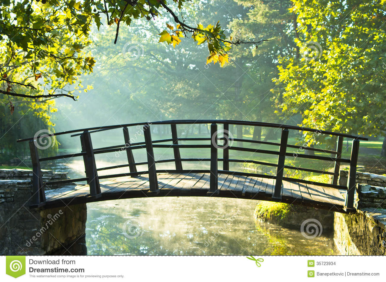Foggy Fall Wallpaper Little Wooden Bridge On First Sunrays At Morning Stock