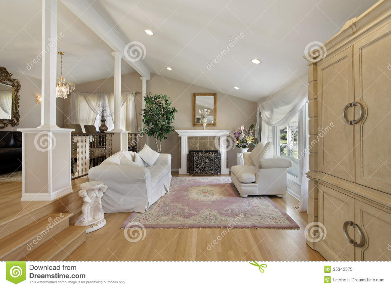 Seats And Sofa Living Room With Adjoining Dining Room Royalty Free Stock