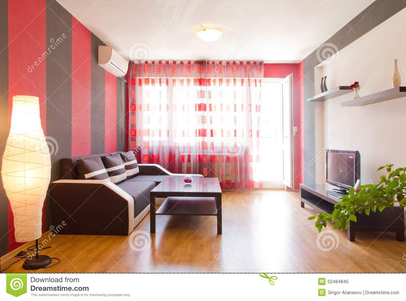 All Black Living Room Living Room With Black And Red Striped Walls Stock Photo
