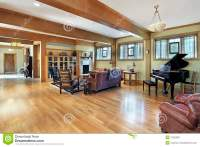 Living Room With Ceiling Beams Stock Image