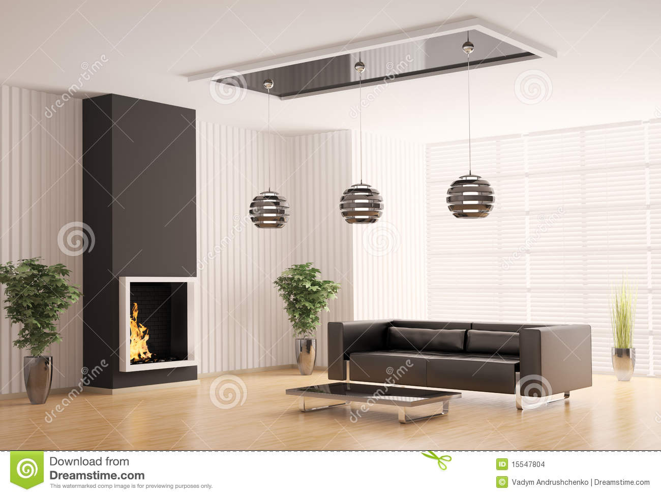White House With Black Shutters Living Room With Fireplace Interior 3d Stock Images