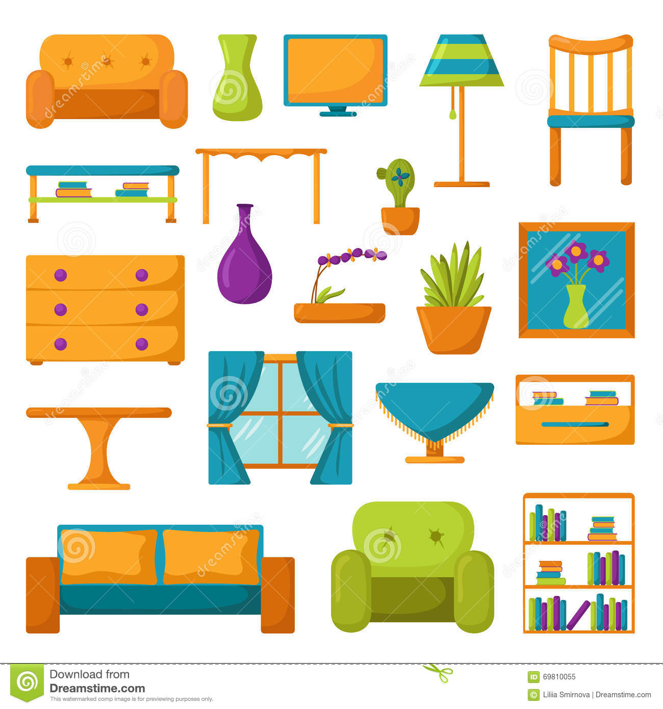 Wohnzimmer Cartoon Living Room Icons Interior And House Furniture Stock