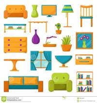 Living Room Icons. Interior And House Furniture Stock ...