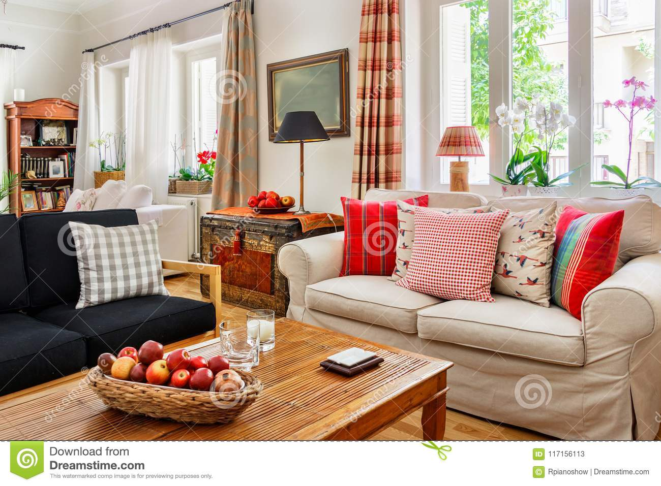 Sofa House Greece Living Room Interior Country English Style Stock Image Image