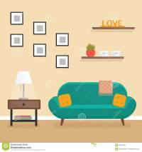 Living Room Interior - Flat Style Vector Illustration ...