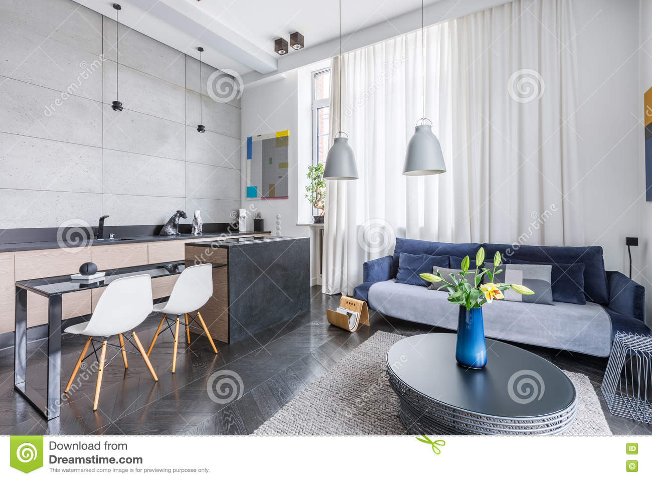 Modern Living Room Kitchen Combo Living Room Kitchen Combo Stock Photo Image Of Apartment 82100292