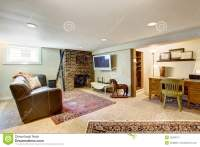 Living Room And Office Area In Old House Stock Image ...