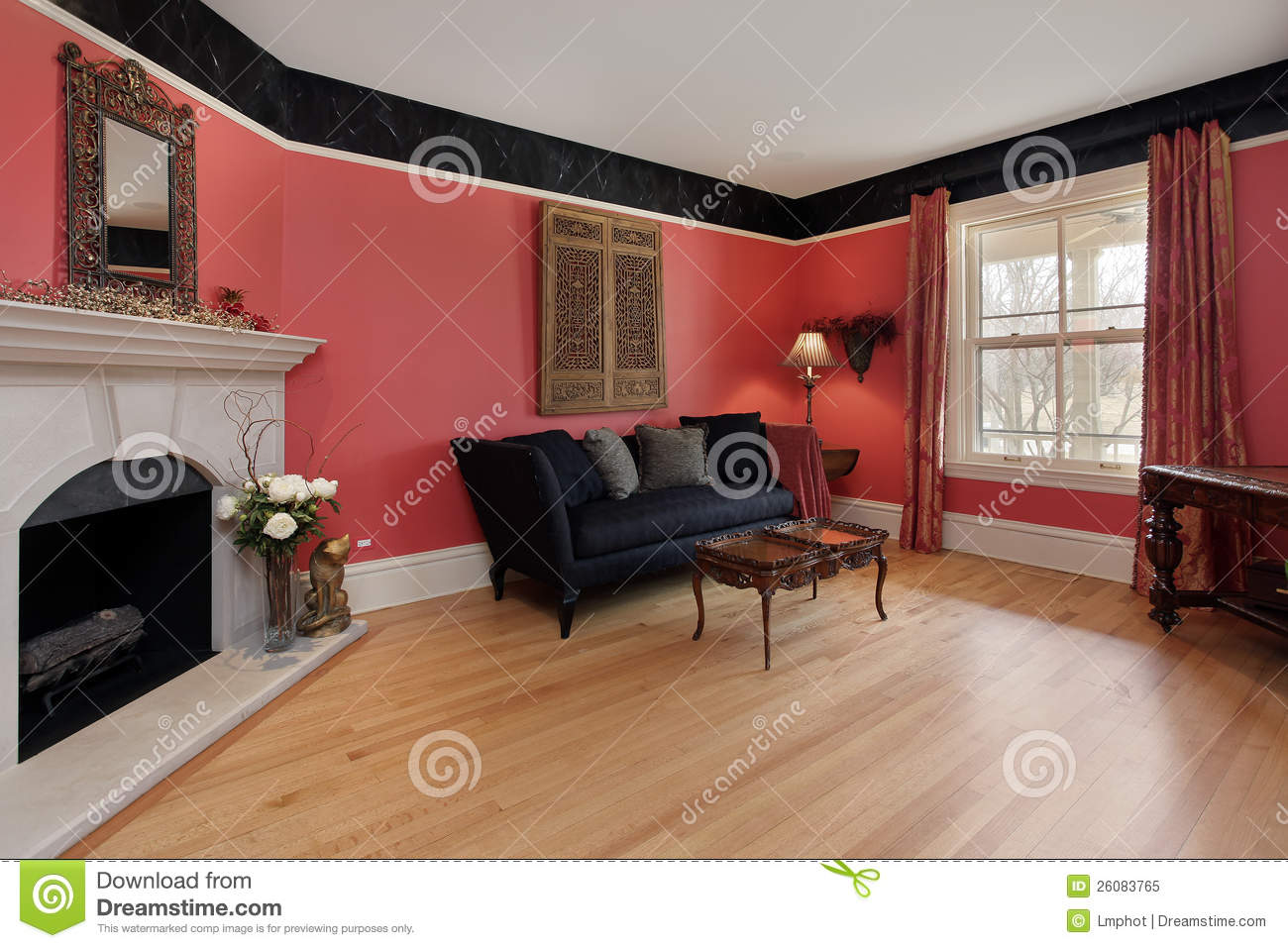 Red Wall Living Room Living Room With Red Walls Stock Image Image Of Hardwood