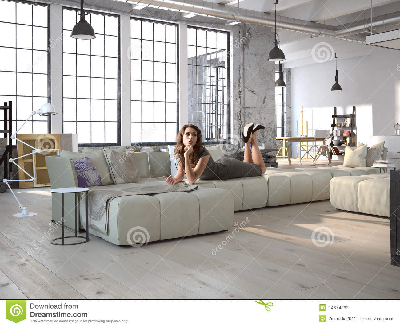 Sofa Couch The Brick Living Room Stock Illustration. Illustration Of Counter