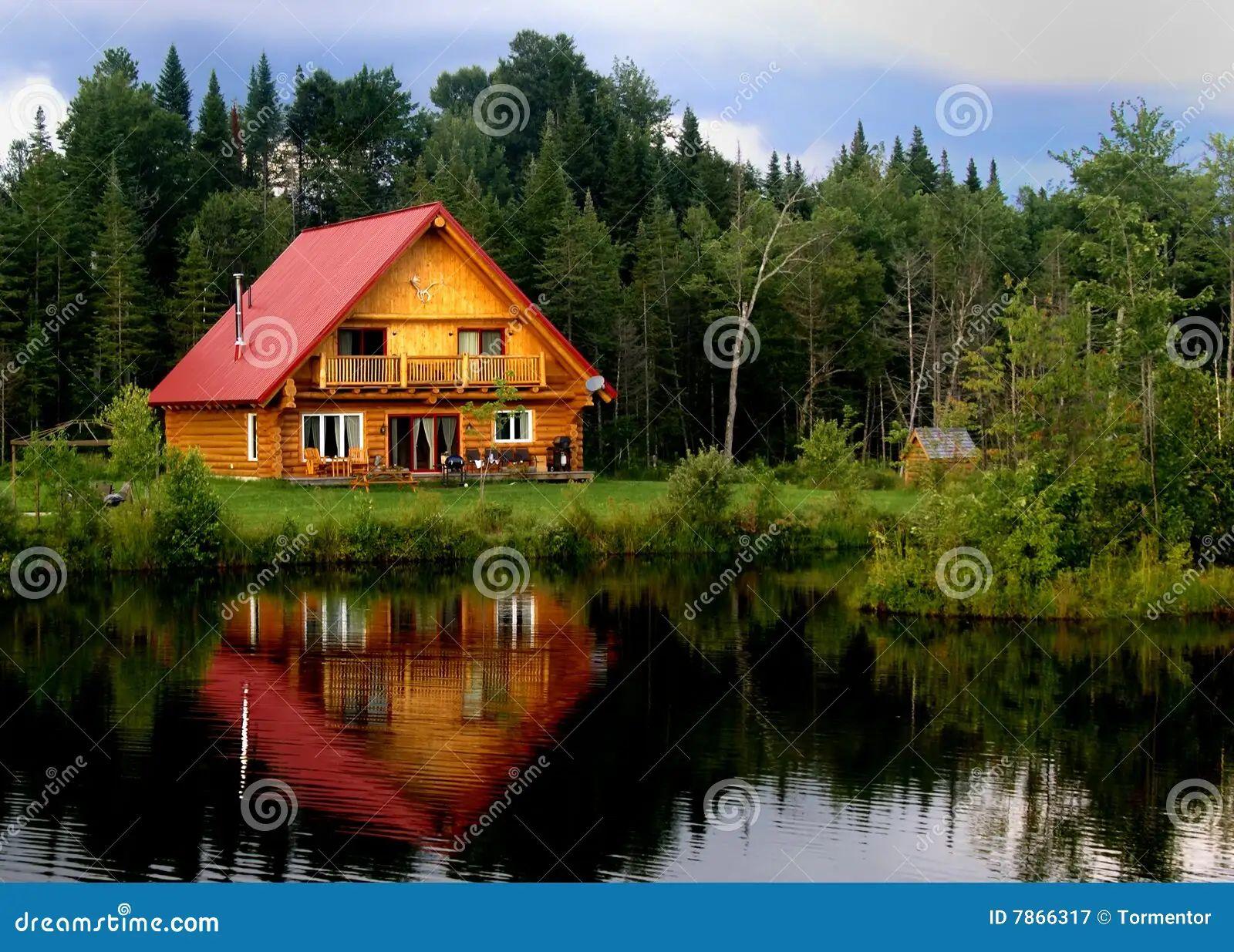 Royalty free stock photo cabin lake log