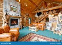 Log Cabin Living Room Stock Image - Image: 38326901
