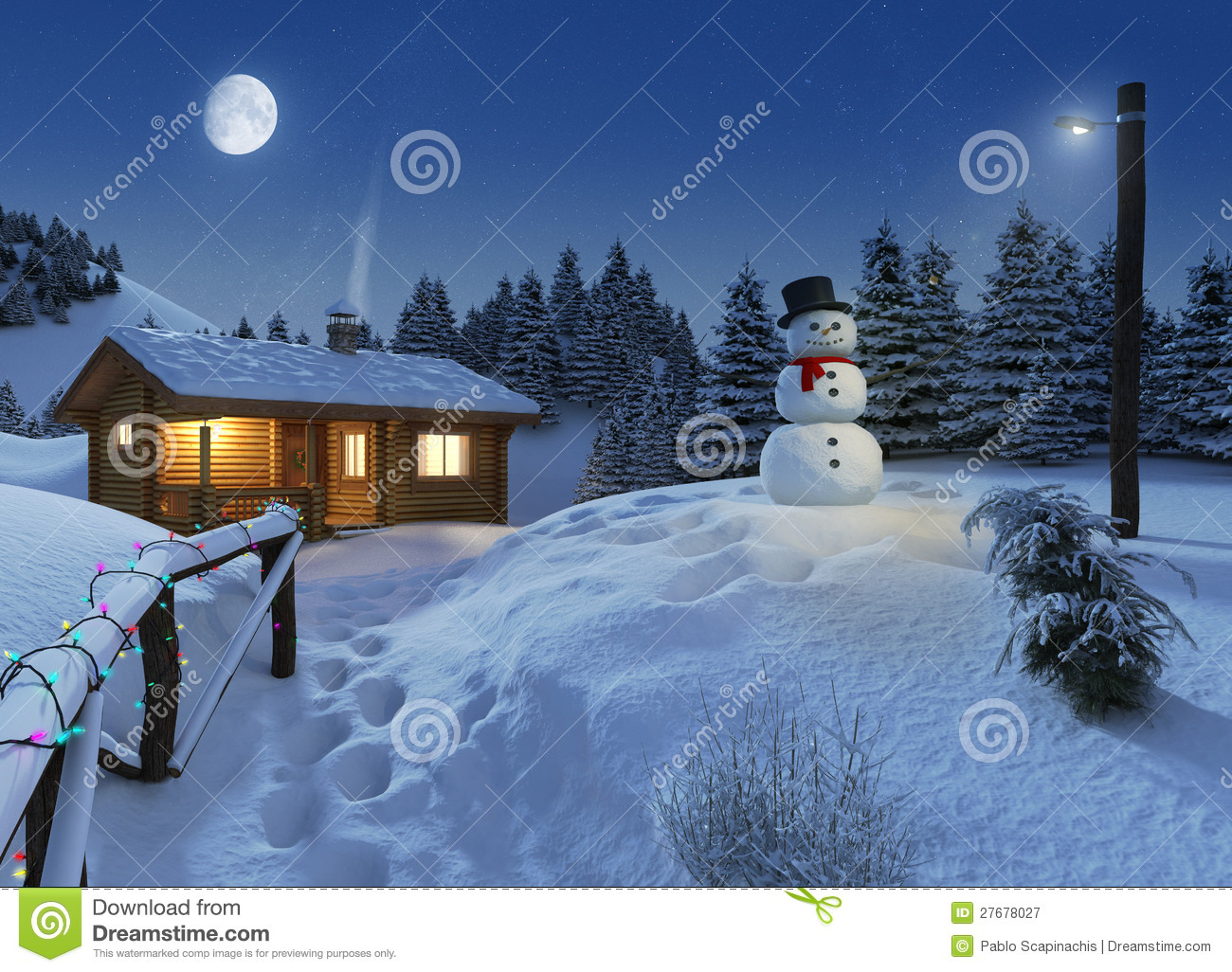 3d Snowy Cottage Animated Wallpaper Free Download Log House In A Winter Christmas Scene Stock Illustration