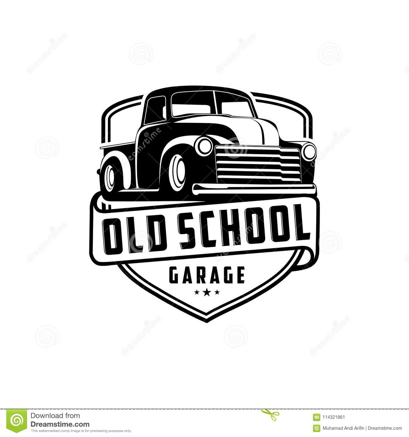 Old School Garage Old School Garage Truck Logo Vector Stock Vector