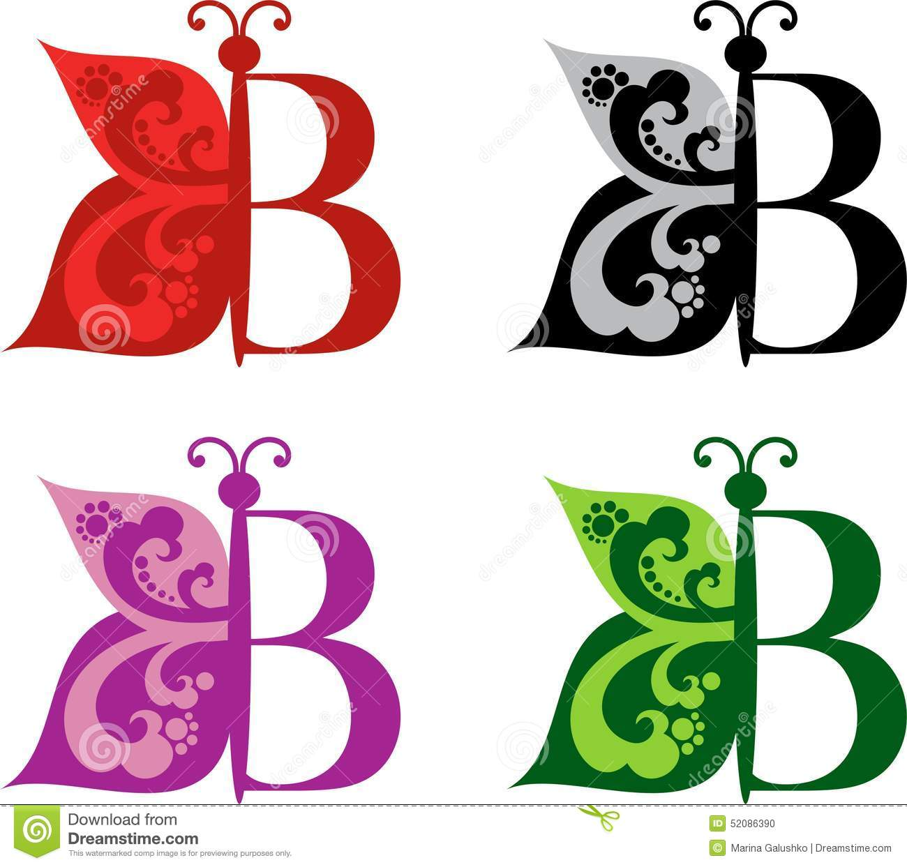 B background butterfly colour different letter logotype variants