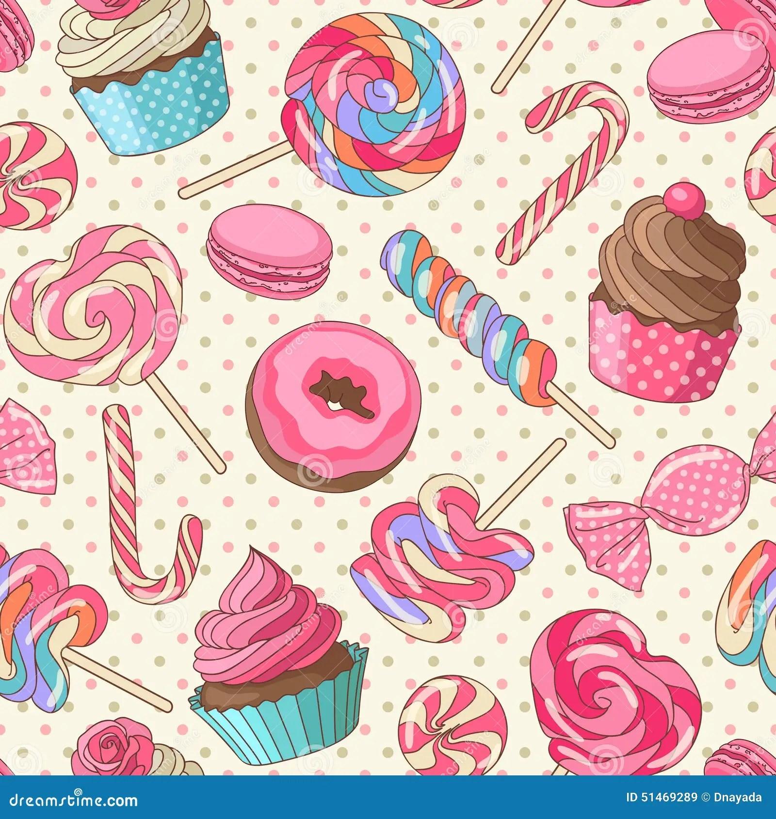 Lollipop Wallpaper Cute Lollipop Pattern Yellow Stock Vector Image 51469289