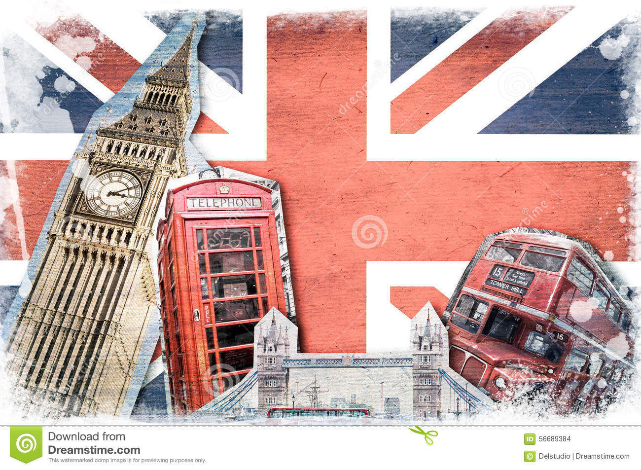 Bus Londres London Landmarks, Vintage Collage Stock Photo - Image