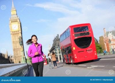 London Lifestyle Woman Running Near Big Ben Stock Image ...