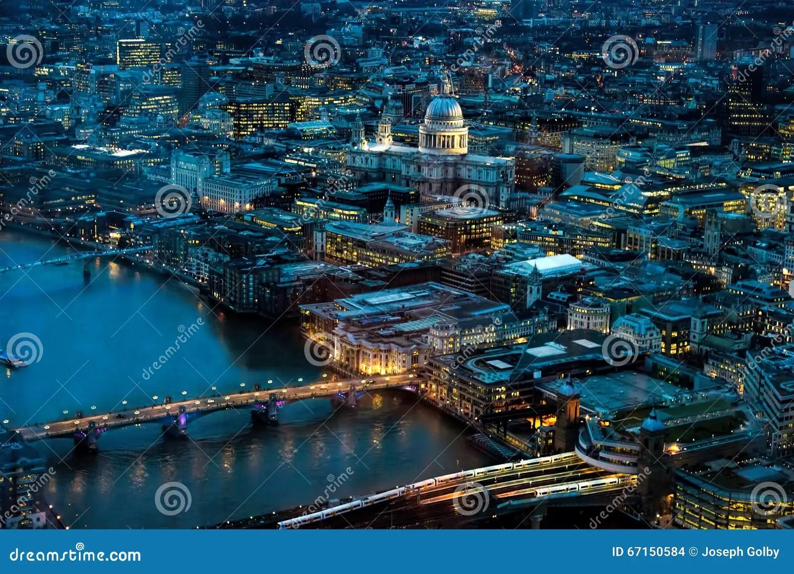 London At Night North Toward River Thames London Bridge