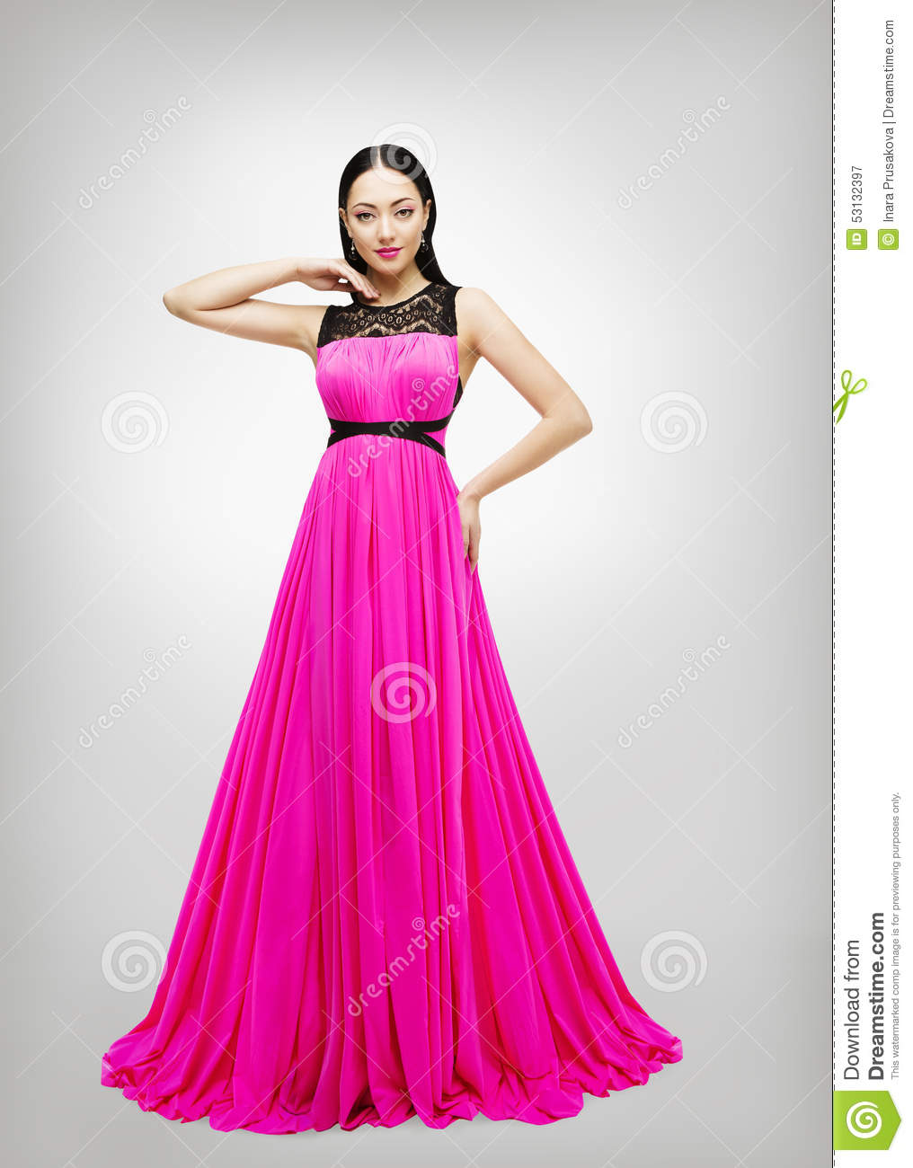 Download Foto Model Long Dress Young Woman Fashion Model Pink Gown High Waist Stock