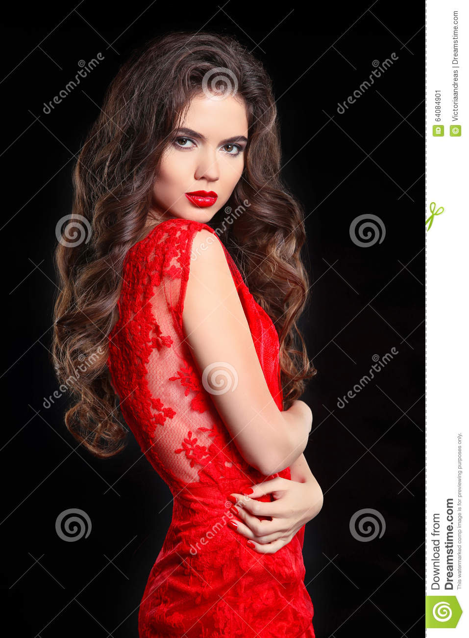 Lipstick Color Is Red Long Hair Beautiful Brunette Woman In Red Lace Dress