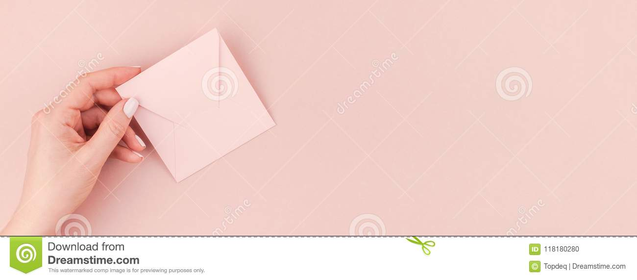 Woman Hand Holding Small Pink Love Letter Stock Photo - Image of