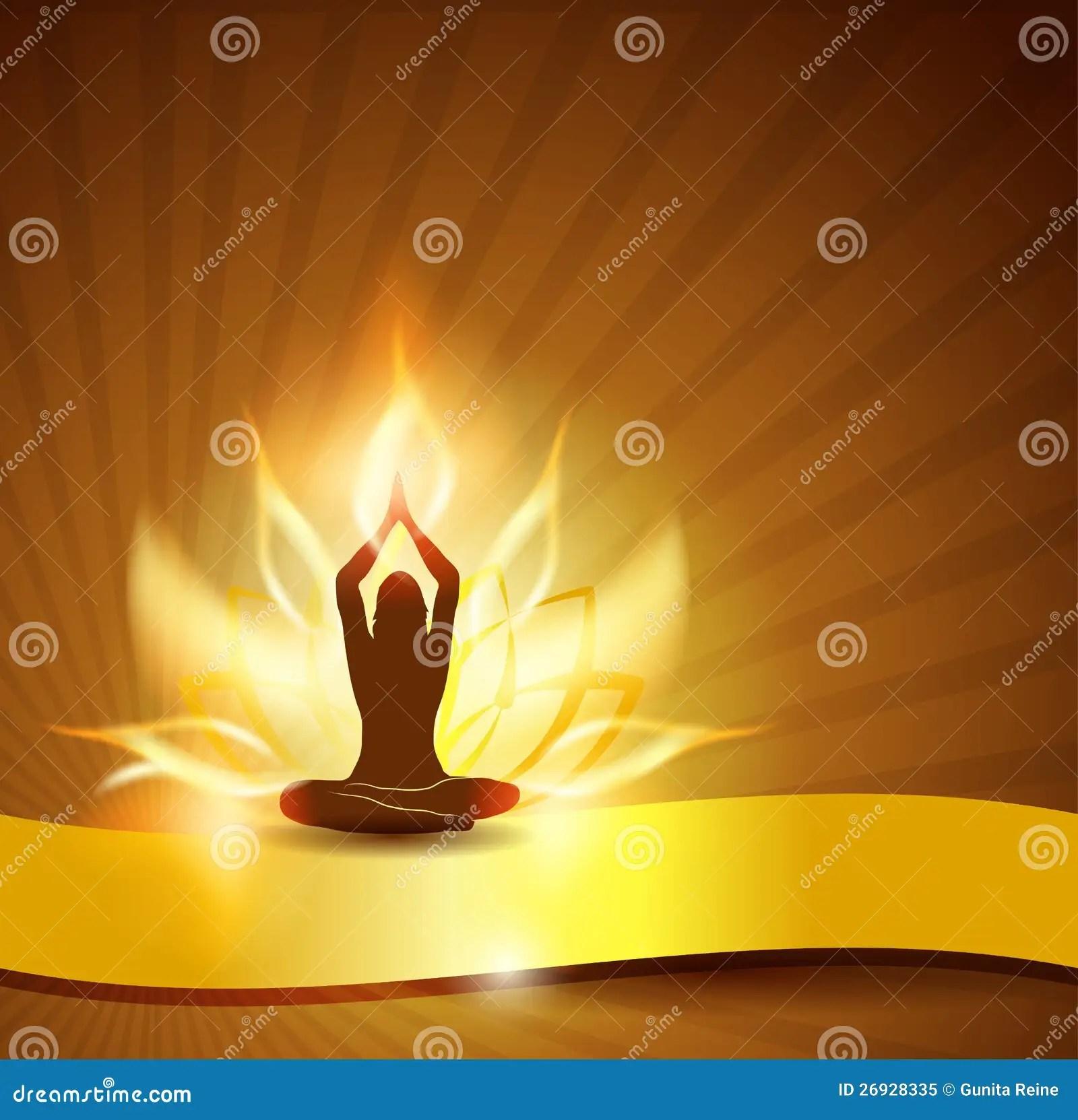 Wallpaper Fitness Girl Lotus Flower Fire And Yoga Stock Vector Image 26928335