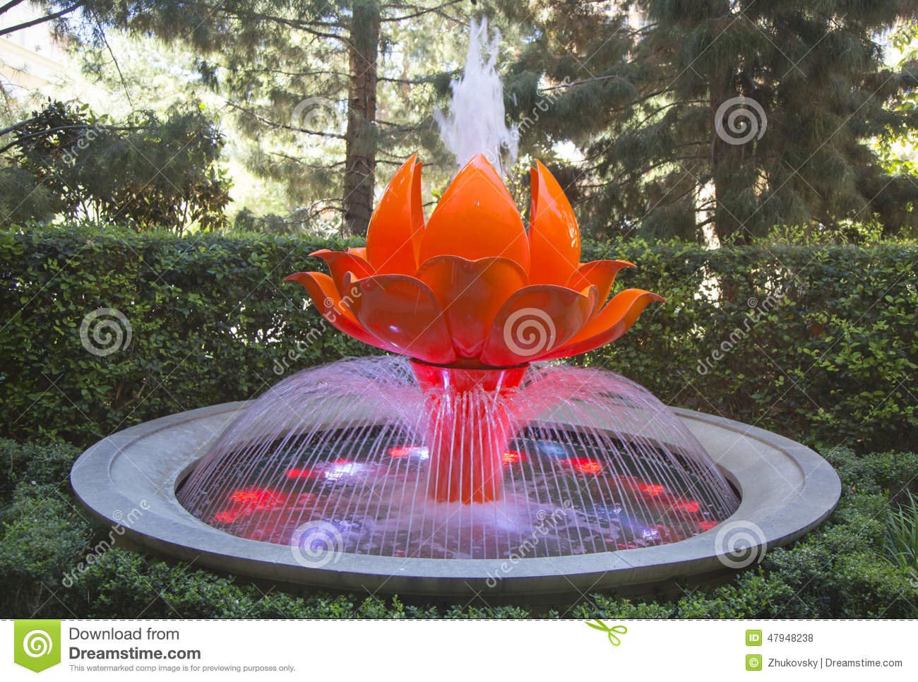Garden Dreams Lotus Fountain At The Wynn Hotel And Casino Editorial