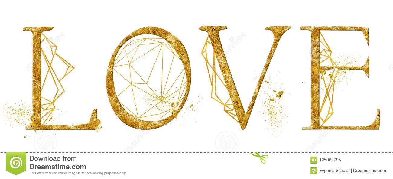 Love Lettering Sign Golden Word Design With Triangle Frames And Gold