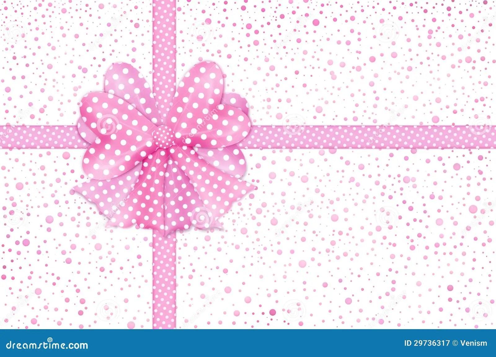 Cute Aqua Green Wallpaper Pink Gift Bow And Ribbons Card Royalty Free Stock