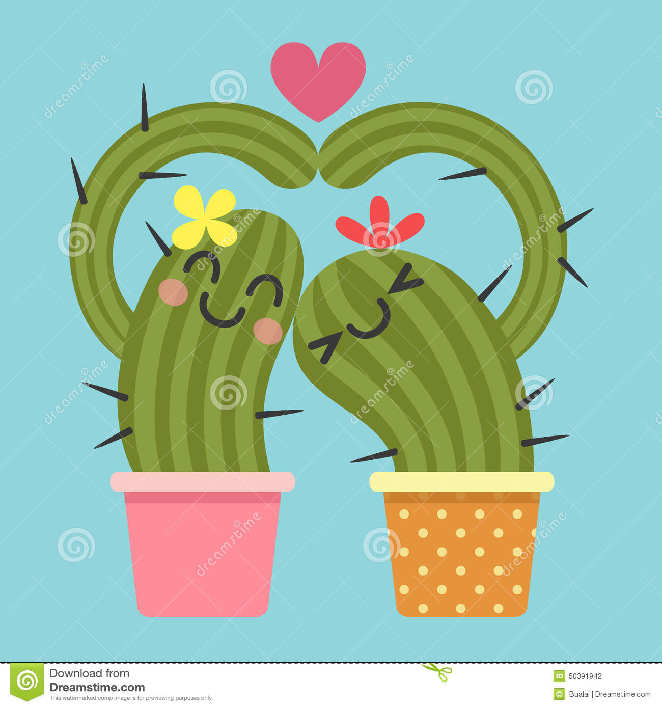 Love Cute Couple Wallpaper Download Loving Couple Of Cactus Stock Vector Image 50391942