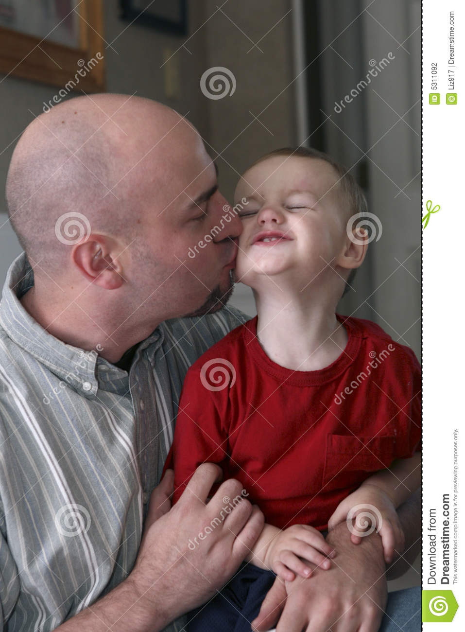Toddler Three Years Loving Father Kissing Son Stock Photography Image 5311092