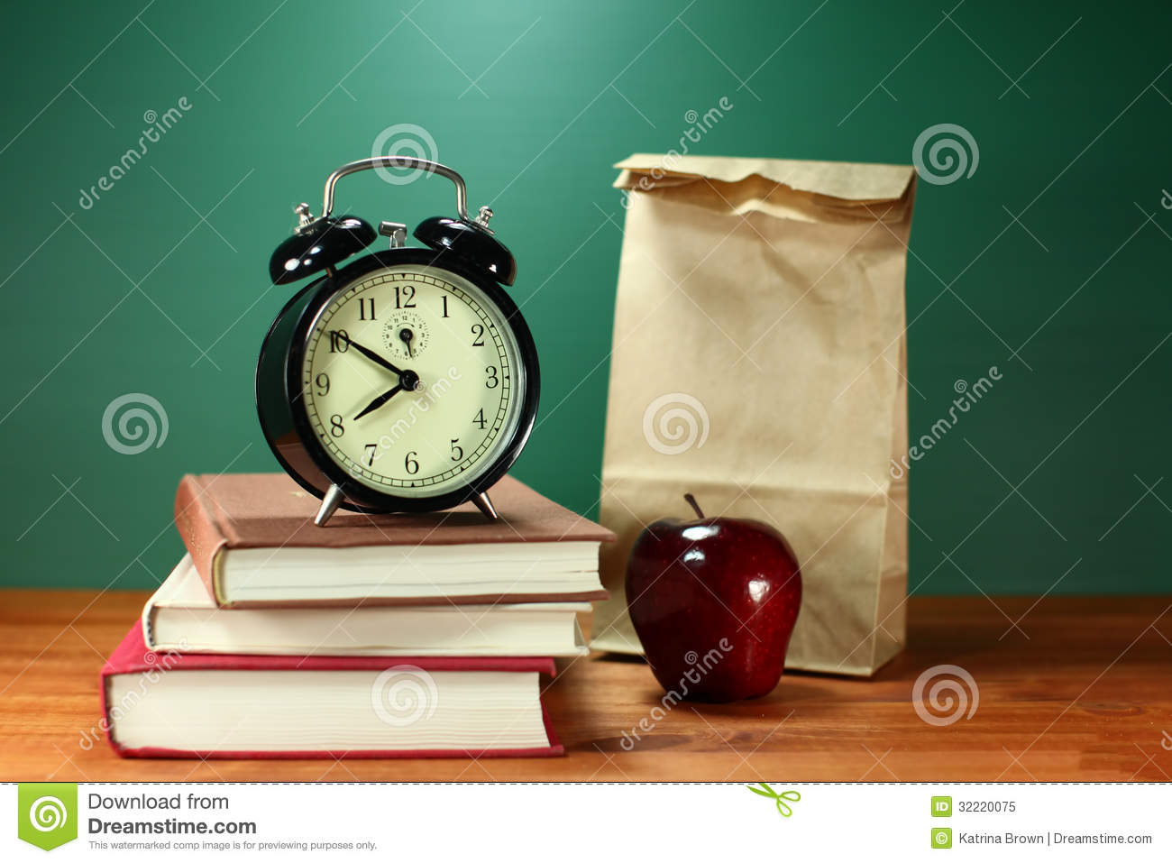Kids Desk Clock Lunch Apple Books And Clock On Desk At School Royalty