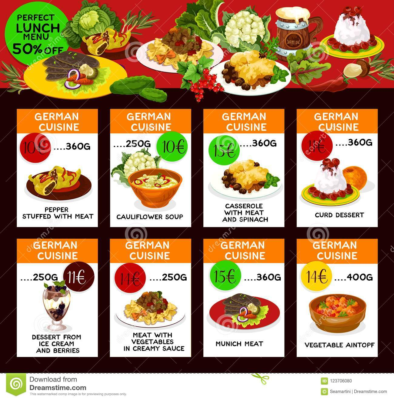 Poster Cuisine Lunch Menu Cards With German Cuisine Food Stock Vector