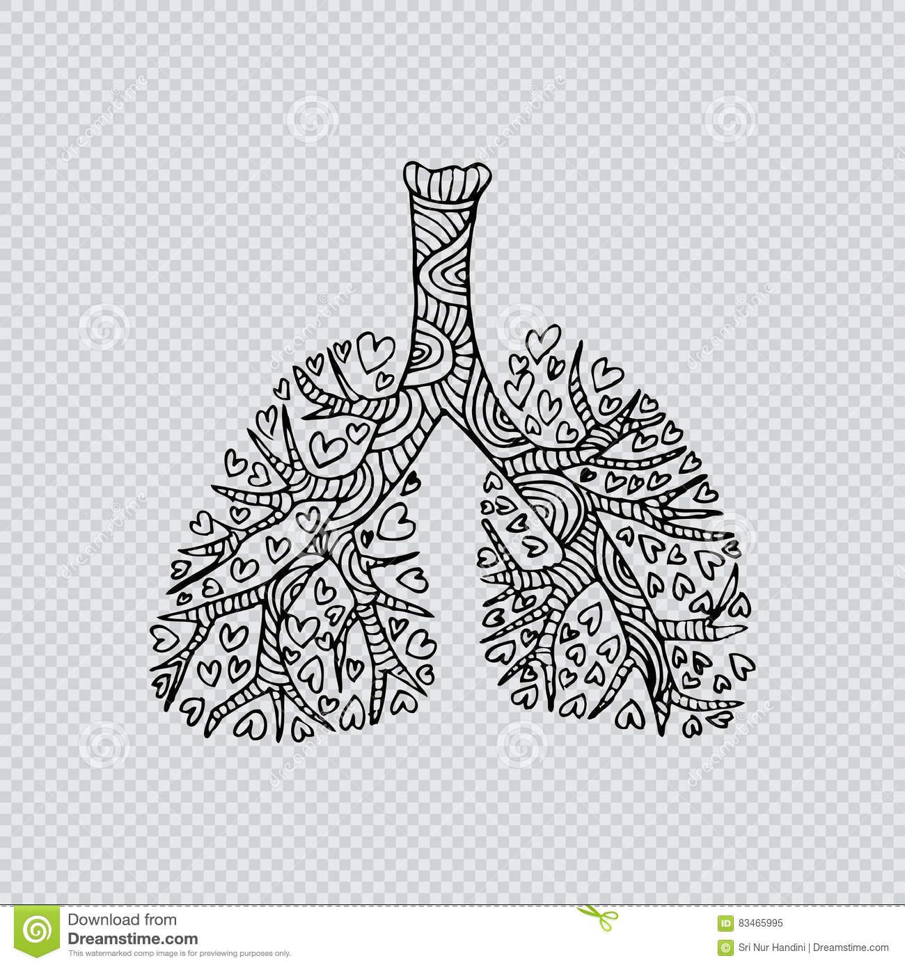 lungs doodle drawing of human organ vector illustration autolungs doodle drawing of human organ stock illustration