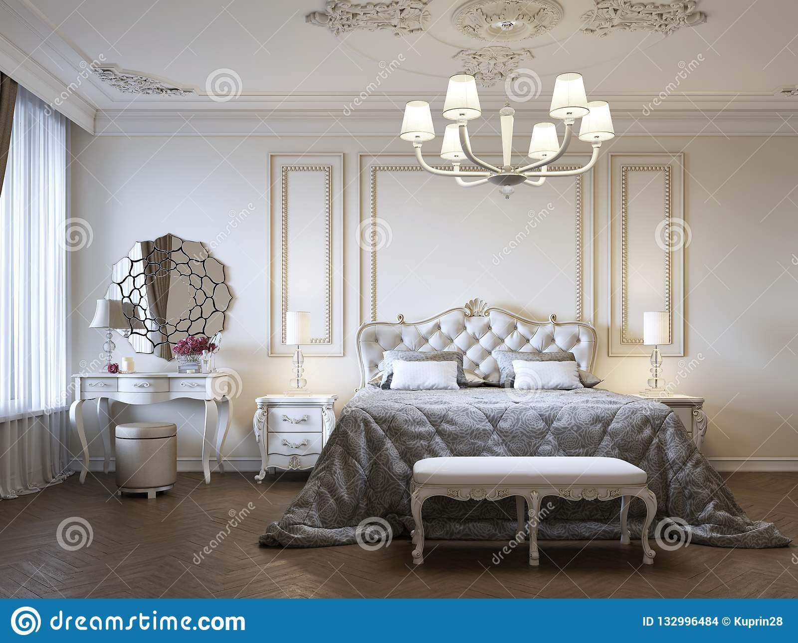 Dressing A Bed Luxurious Bedroom With Bed And Bedside Tables And Dressing Table