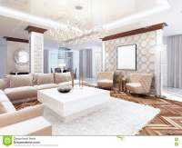 Luxurious Large Living Room Style Art Deco. Stock ...