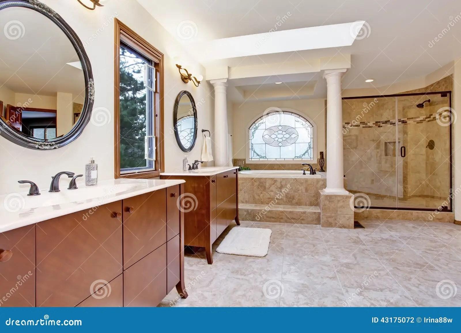 Luxury Bathroom Interior With Columns Stock Photo Image
