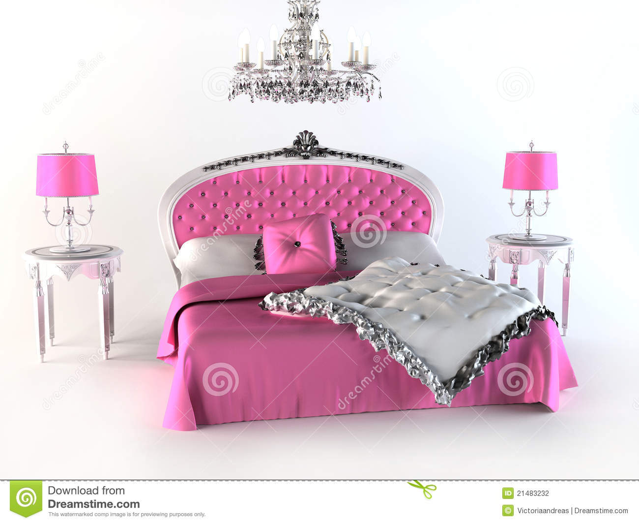Roze Lamp Luxury Bed. Pink Bedroom Stock Photography - Image: 21483232