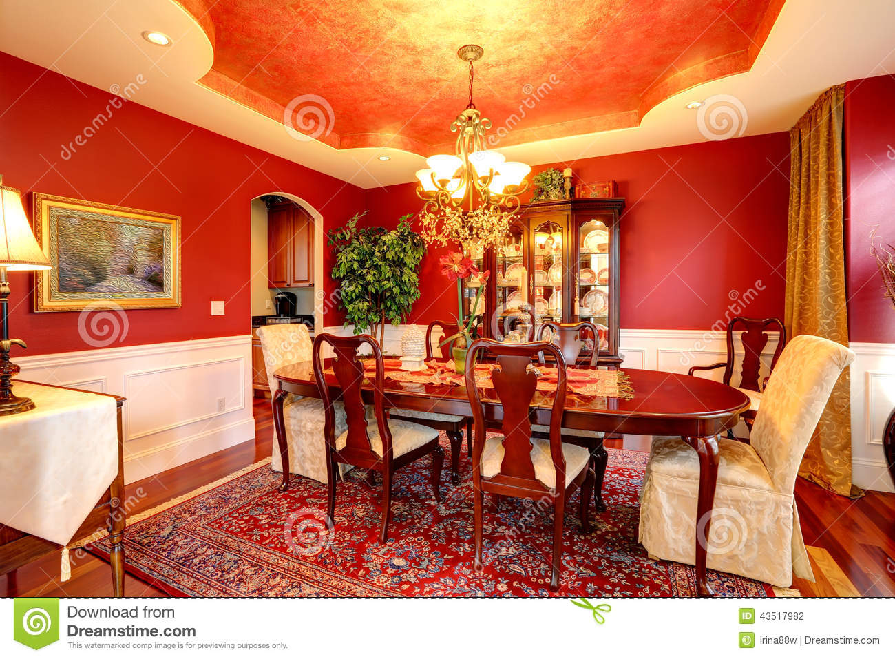 Luxury Dining Room In Bright Red Color Stock Photo Image