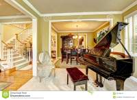 Luxury Family Room With Grand Piano Stock Image - Image of ...