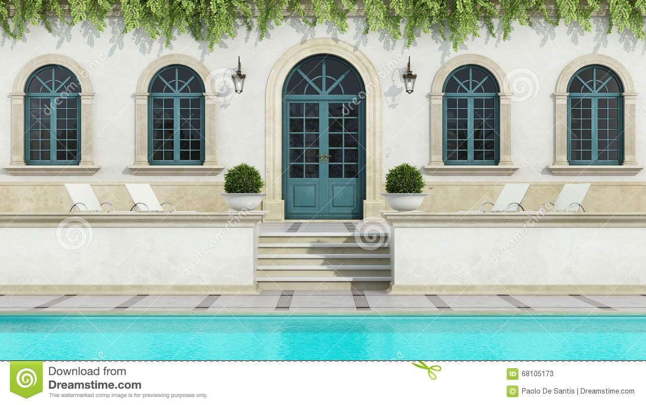 Luxury Holiday Villa With Pool Luxury Holiday Villa With Pool Stock Illustration Illustration