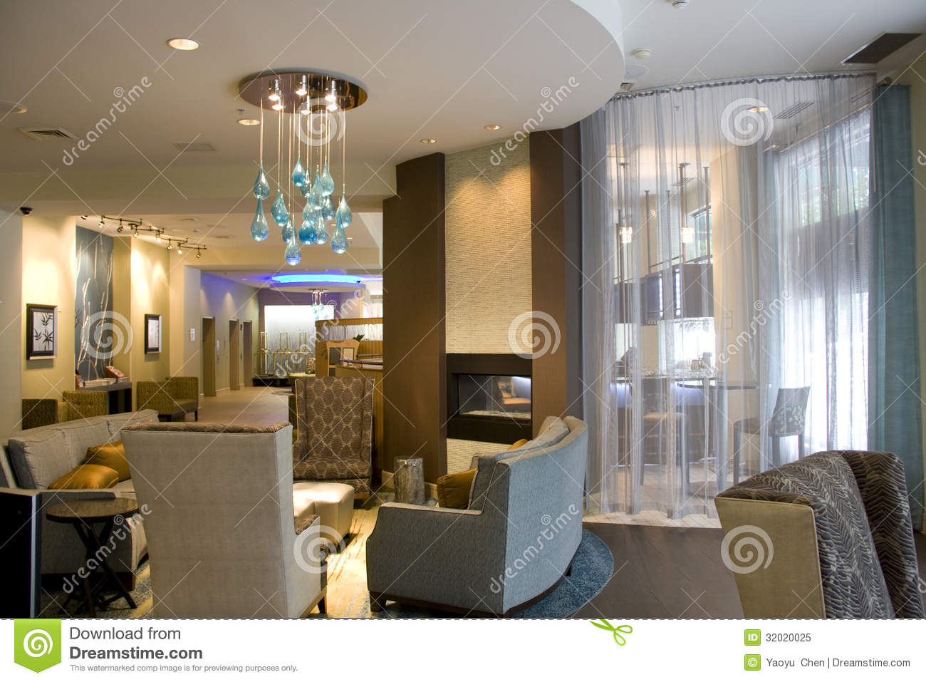U Couch Luxury Hotel Lobby Living Room Interiors Royalty Free