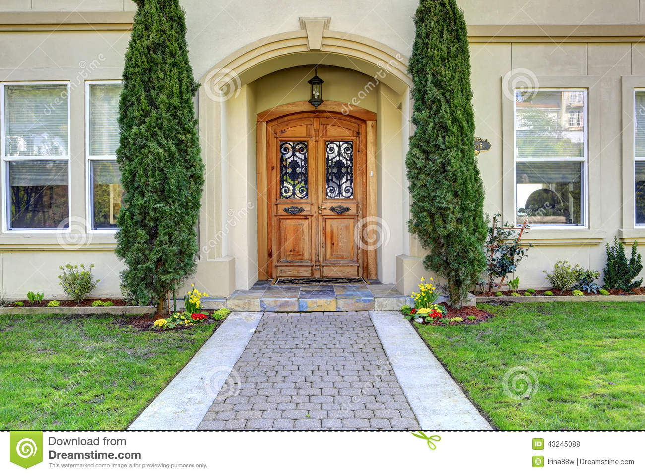 Luxury Home Entrance Luxury House Entrance Porch With Walkway Stock Photo