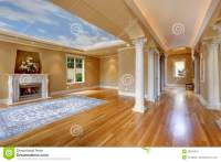 Luxury House Interior. Living Room With Column Stock Photo ...