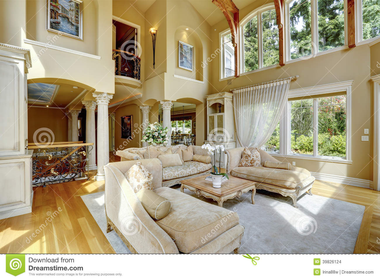 Luxusvilla Innen Schlafzimmer Luxury House Interior. Living Room Stock Photo - Image Of
